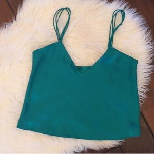 Emerald green Victoria's Secret gold label cami